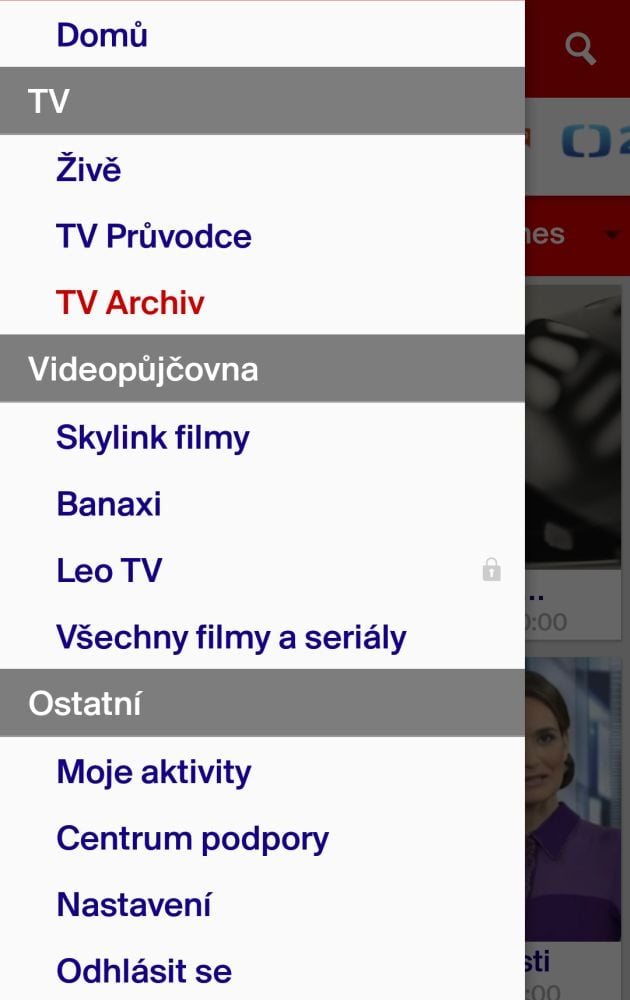Skylink Live TV 4.1 - menu