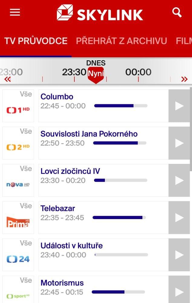 Skylink Live TV 4.1 - menu