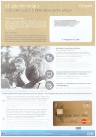 Debetní karta Citigold. Bezkontaktní embossovaná karta MasterCard Gold.