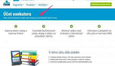 Upoutávka ČSOB na účet úschovy pro exekutory.