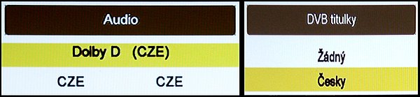 Na dálkovém ovládání jsou přímá tlačítka pro nastavení pro výstup zvuku, nebo DVB titulků.