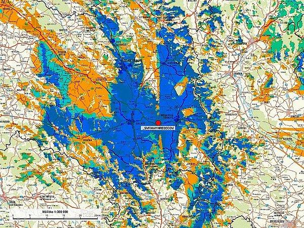 Zásah novými multiplexy, které byly spuštěny z vysílače Hřebečov nacházejícího se nedaleko Svitav.