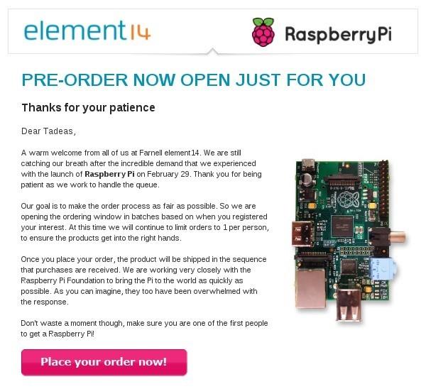 Předobjednávka Raspberry Pi