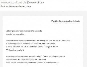 Náhled podvodného e-mailu