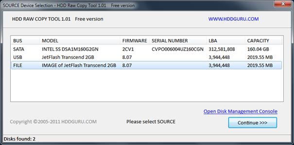 Pomocí HDD Raw Copy Tool vytvoříte obraz disku