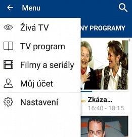 Základní menu aplikace Skylink Live TV CZ.