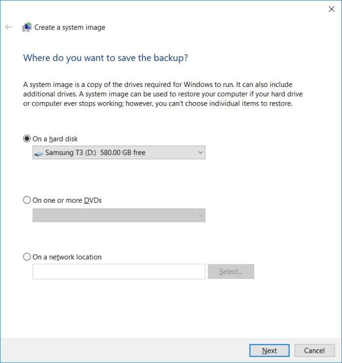 Uložení bitové kopie systému ve Windows 10