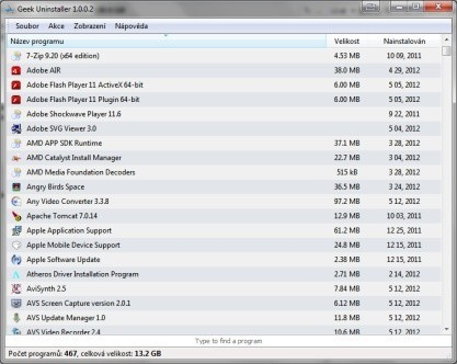 GeekUninstaller odinstaluje programy