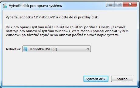 Pro obnovení stavu operačního systému z obrazů vytvořených pomocí nástroje integrovaného ve Windows je potřeba použít disk pro opravu systému. Jeho vytvoření vám zabere jen několik sekund.