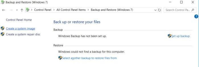 Zálohování a obnovení v Ovládacích panelech Windows 10