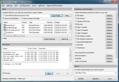 FileList Creator vytvoří výpis seznamu souborů do přehledné podoby