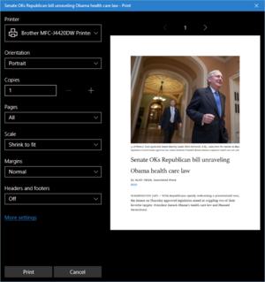 Zjednodušená verze internetové stránky otevřené v internetovém prohlížeči Edge připravená k tisku
