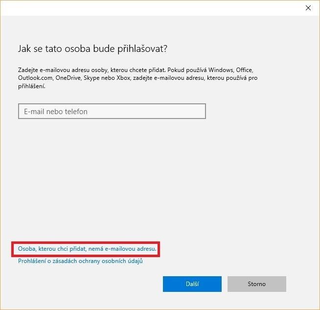 Druh přihlašování při vytváření uživatelského účtu ve Windows 10