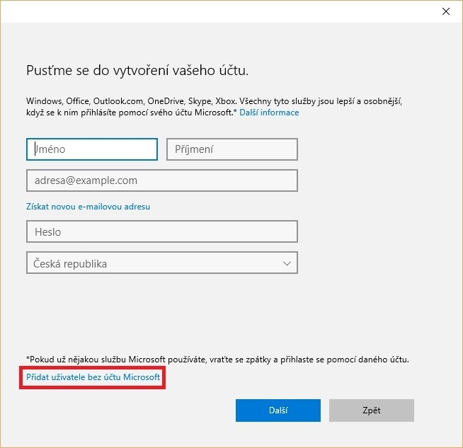 Přidání uživatele bez účtu Microsoft ve Windows 10