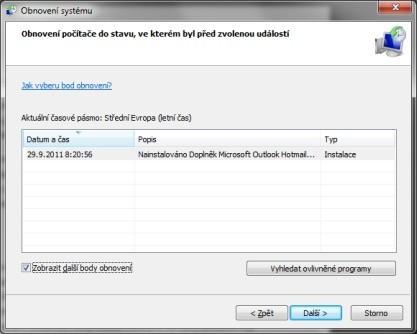 Windows disponují funkcí pro Obnovení systému pomocí Bodů obnovení