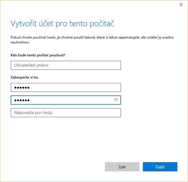 Zadání přihlašovacích údajů pro uživatelský účet ve Windows 10