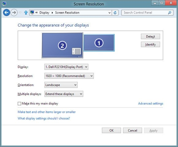 Konfigurace zobrazení na více monitorech ve Windows
