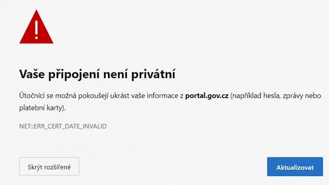 [aktualita] Portálu veřejné správy vyexpiroval certifikát, nedalo se na něj přihlásit [AKTUALIZACE]