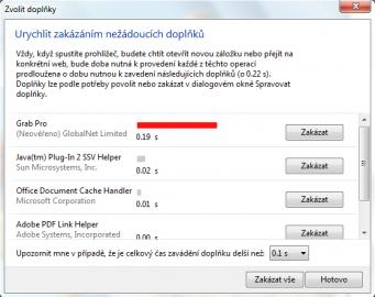 <p>Zakázání nežádoucích doplňků, které zpomalují aplikaci</p>