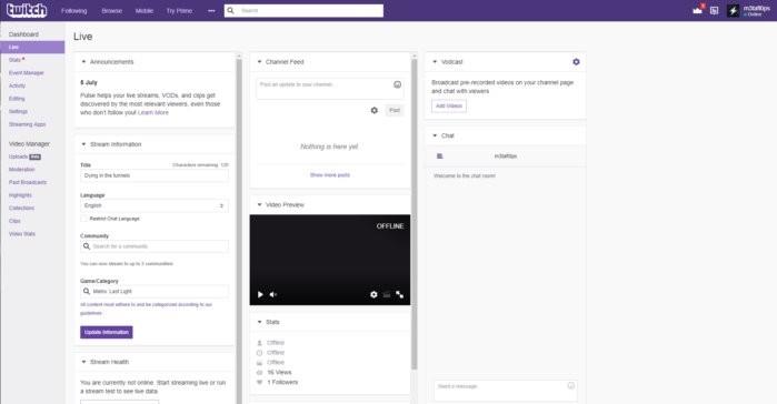 Hlavní prostředí služby Twitch