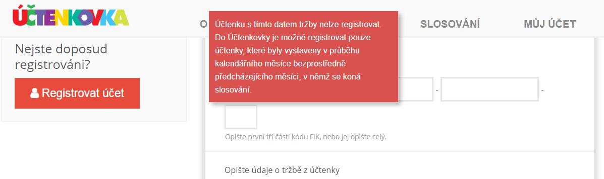 Jak probíhá registrace účtenky v Účtenkovce