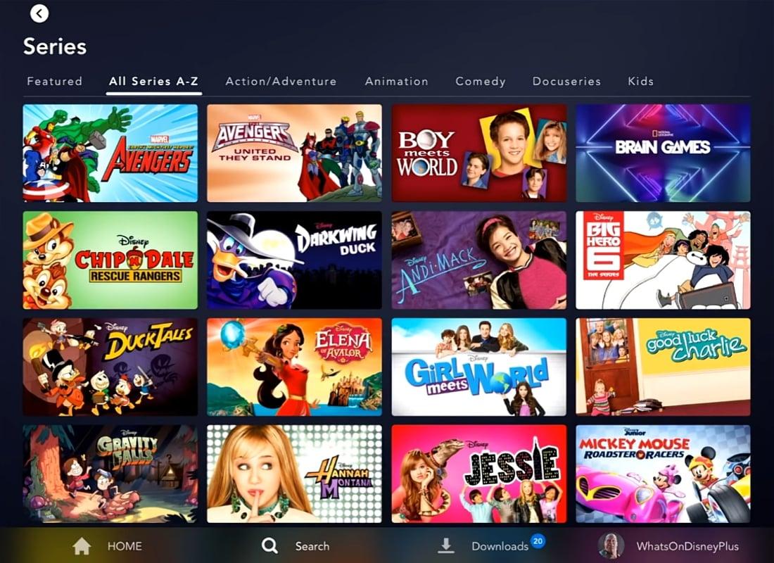 Katalog Disney+ na tabletu