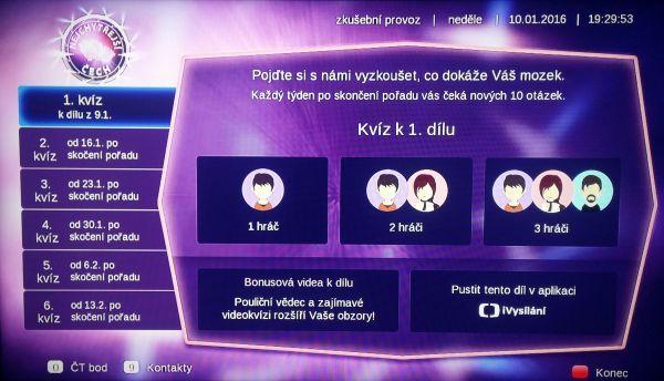 Hybridní aplikace České televize s názvem Nejchytřejší Čech