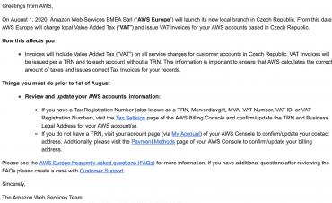 Dopis od Amazon Web Services pro české zákazníky