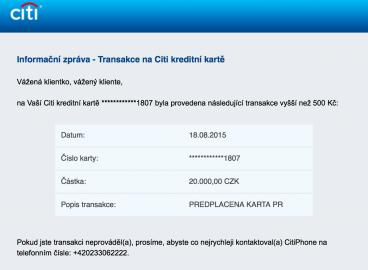 Nežádoucí blokace částky na kreditní kartě Citibank po neúspěšném pokusu dobít Napku.