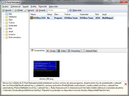 D-Fend Reloaded je grafická nadstavba DOSBoxu
