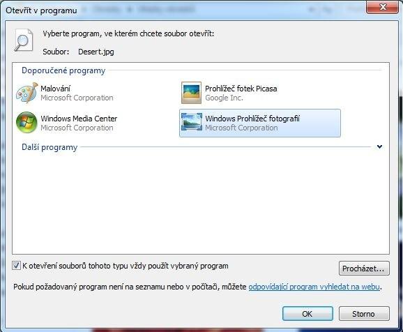 Dialogové okno Otevřít v programu ve Windows 7