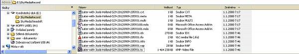 Print Screen z PC zobrazuje nahrávku jednoho pořadu pořízenou tímto přijímačem.