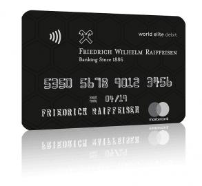Debetní karta Mastercard World Elite, kterou bude Raiffeisenbank nabízet klientům privátního bankovnictví.