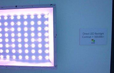 Uspořádání LED diod u podsvícení typu Direct LED, tedy plošného (Philips).