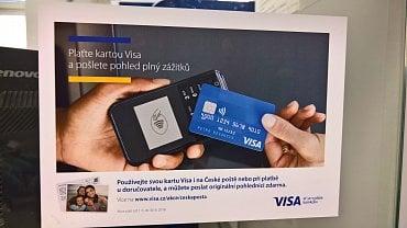 Reklamní nálepka soutěže pro karty Visa, ale více jak dva roky stará. Pošta Nový Jičín 1. (17. 7. 2020.