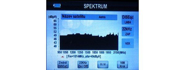 "Spektrum satelitu Astra 23,5"" V."