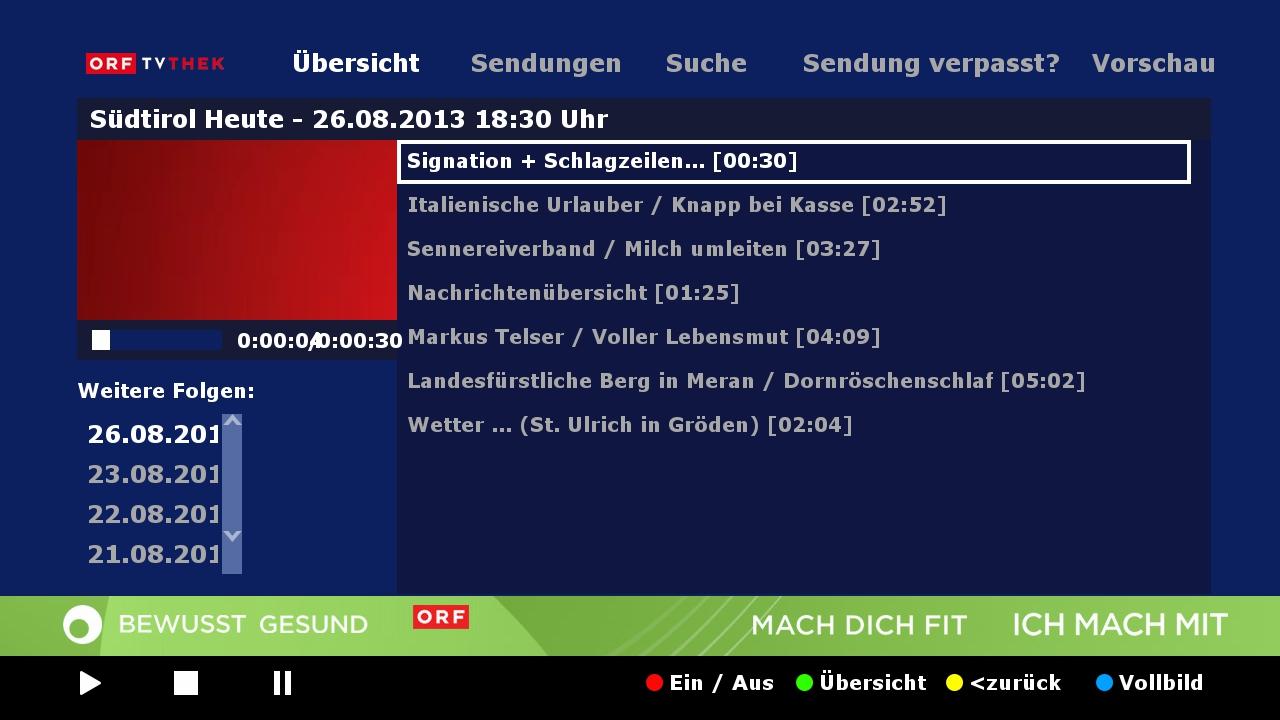 Hybridní vysílání HbbTV od ORF