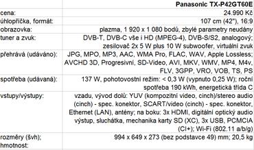 Panasonic TX-P42GT60E - tabulka parametrů.