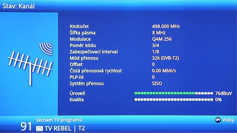 Přechodová síť 13, kanál 24, výpadek prosinec 2017