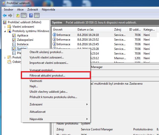 Filtrování protokolu v Prohlížeči událostí