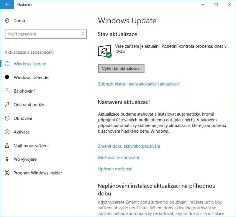 Ujistěte se, že máte nainstalovány všechny aktuálně dostupné aktualizace Windows