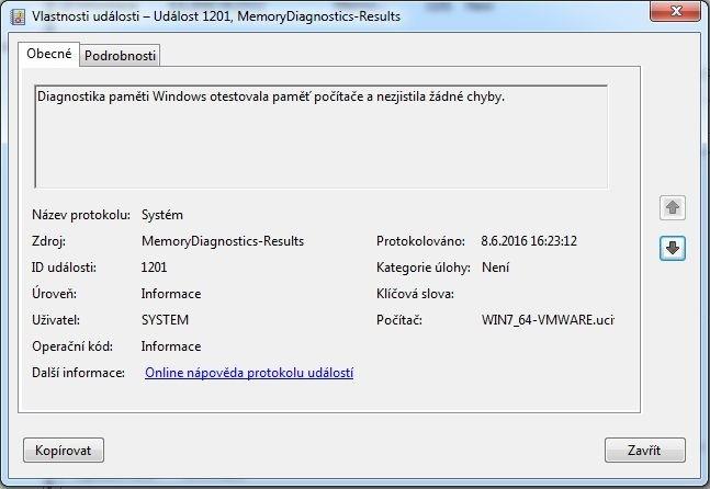 Výsledek diagnostiky paměti ve Windows