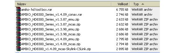 Na screnshotu je seznam dostupného software řady 8300 staženého z Internetu.