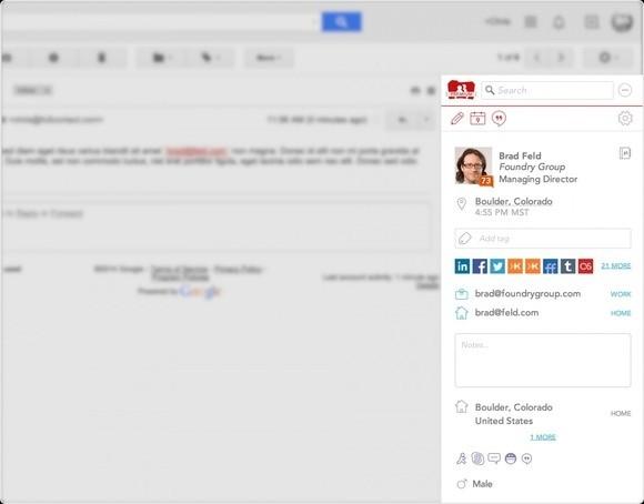 Rozšíření Full Contact vám zobrazí profil na sociálních sítích a další podrobnosti týkající se odesílatele e-mailu