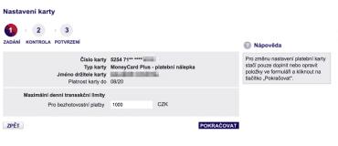 Moneta Money Bank umí nastavit denní limity (nejen) pro bezkontaktní nálepku.