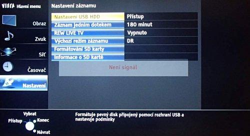 S terabajtovým diskem Freecom Mobile Drive Sq TV neměl televizor problém. Parametry nahrávání či TimeShiftu si můžete nastavit na jednom místě, a to včetně formátování disku a SD karty. Pro nahrávání musí být disk formátován a spárován s konkrétním přístrojem tak, jak je u Panasoniku obvyklé.