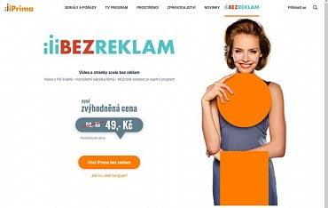 Webová stránka s popisem služby iPrima bez reklam.