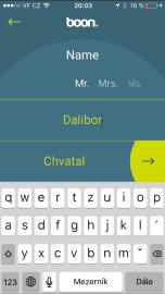 Registrace v aplikaci boon probíhá pomocí mobilního čísla.
