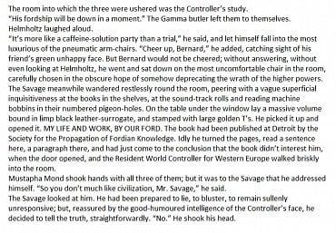 Přepis anglického znění Brave New World od Aldouse Huxleyho.