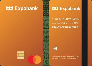 Debetní karta Mastercard od Expobank, vertikální, vydávaná od 07/2021.